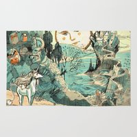 the last unicorn Area & Throw Rugs featuring Last Unicorn Journey  by Christina Siravo