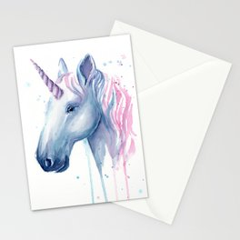 Blue Pink Unicorn Stationery Cards