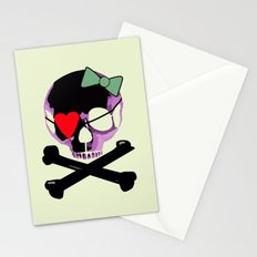 Pink Skull with heart and bow Stationery Cards