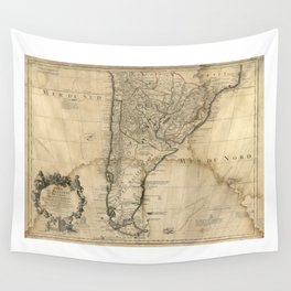 Map of Paraguay & Chili, South America (1718) Wall Tapestry