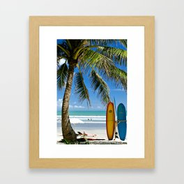 Kuta Beach with Longboard Framed Art Print