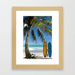 Kuta Beach with Longboard Framed Art Print