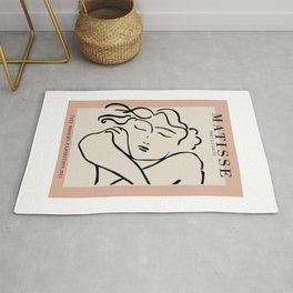 Henri matisse sleeping woman, matisse cut outs, cream and pink Rug