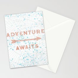 Adventure Awaits Rose Gold Stationery Cards