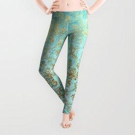 Mermaid Gold Aqua Seafoam Damask Leggings