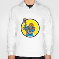 lacrosse Hoodies featuring Gorilla Lacrosse Player Circle Cartoon by patrimonio