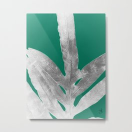 Christmas Fern, Holiday Green with Silver Winter Leaf Metal Print