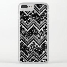 Black Night Glitter Chevron #1 #shiny #decor #art #society6 Clear iPhone Case
