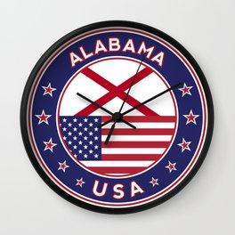 Alabama, Alabama t-shirt, Alabama sticker, circle, Alabama flag, white bg Wall Clock
