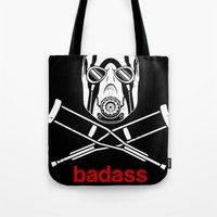 video game Tote Bags featuring Badass - The Video Game by adho1982