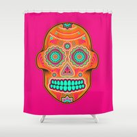 sugar skull Shower Curtains featuring Sugar Skull by Good Sense