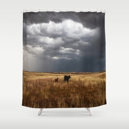 Life on the Plains - Cow Watches Over Playful Calf in Oklahoma Shower Curtain