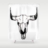 pun Shower Curtains featuring terri-bull pun by gabkl