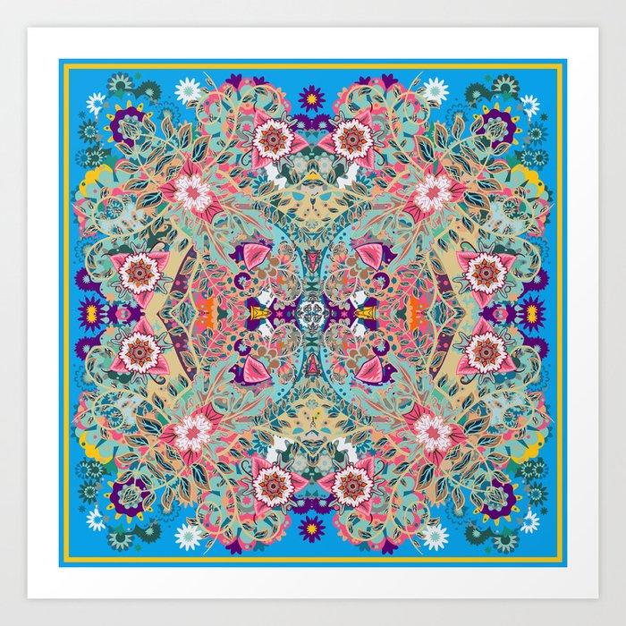 Mandala - Turquoise Boho Kunstdrucke