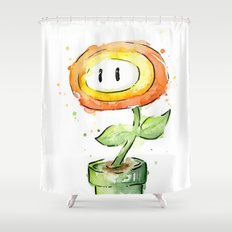 Fireflower Watercolor Painting Shower Curtain