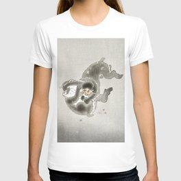 Monkeys playing - Vintage Japanese Woodblock Print T-shirt