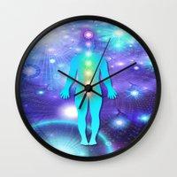 chakra Wall Clocks featuring Chakra Universe by NatalieCatLee