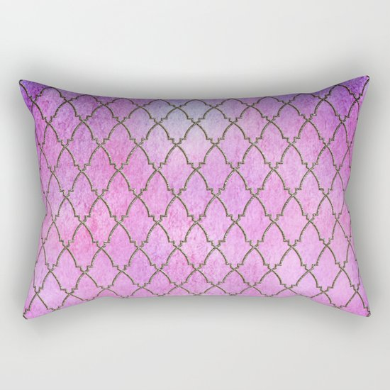 Purple and blue Quatrefoil with Gold Frame- Elegant Morrocan Watercolor Pattern Rectangular Pillow