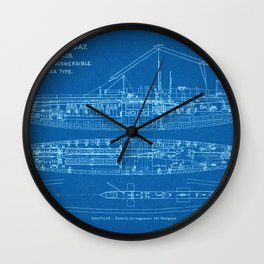 H.M.S. Nautilus Submarine - Blueprint Wall Clock