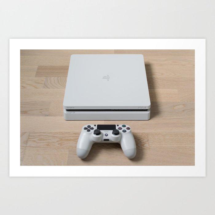 Sony PlayStation 4 Slim Glacier White gaming console Kunstdrucke