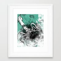 squid Framed Art Prints featuring Squid by Kat Aviles