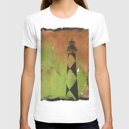 Cape Lookout lighthouse on the Outer Banks, North Carolina.  Watercolor painting T-shirt