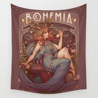 mucha Wall Tapestries featuring BOHEMIA by Medusa Dollmaker