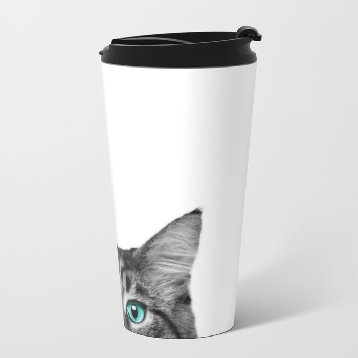 Cat Peeking Metal Travel Mug