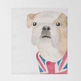 British Bulldog Union Jack Painting Throw Blanket