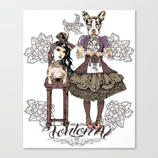 Kawaii and dog Tonton AL Canvas Print