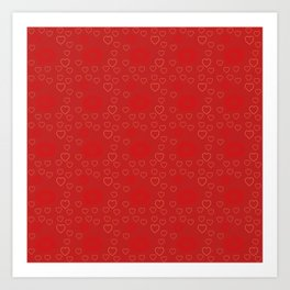 Bright ruby red fancy abstract love style pattern with fine golden hearts and bubbles Art Print