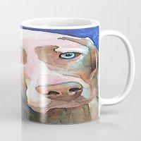 greg guillemin Mugs featuring Greg The Weimaraner by bmeow