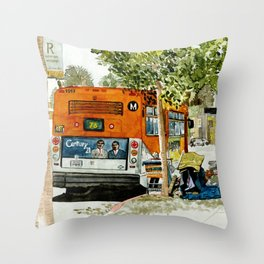 Homeless Series 5 ~ Sunset Blvd., Los Angeles, CA. Throw Pillow