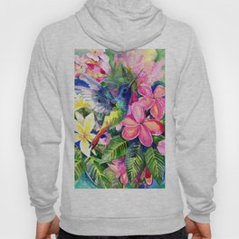 Hummingbird and Plumeria Florwers Tropical bright colored foliage floral Hawaiian Flowers Hoody