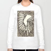 headdress Long Sleeve T-shirts featuring Headdress Sketch by sonja530