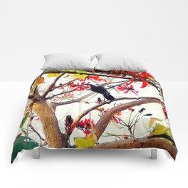 Bird in Coral Tree Comforters