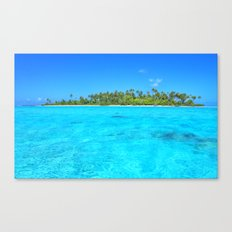 Sea In Front Of Palm Trees in French Polynesia Canvas Print