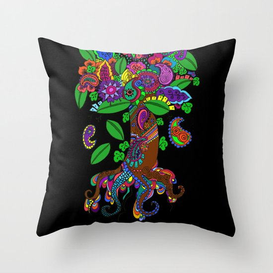 Psychedelic Paisley Tree - on Black Background Throw Pillow