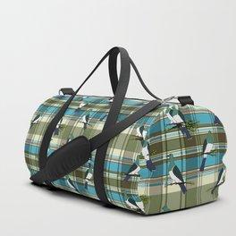 Kereru on green and turquoise plaid Duffle Bag