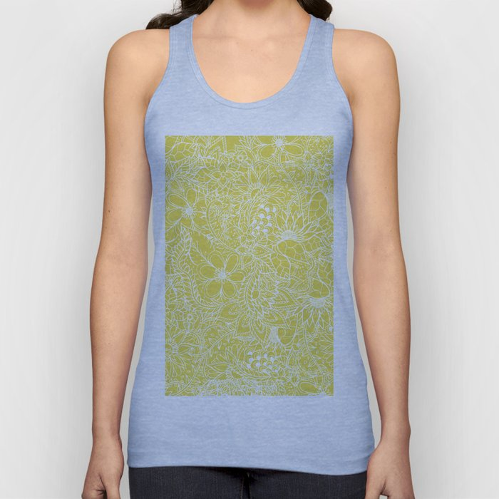 Modern trendy white floral lace hand drawn pattern on meadowlark yellow Unisex Tank Top