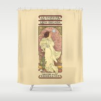 text Shower Curtains featuring La Dauphine Aux Alderaan by Karen Hallion Illustrations