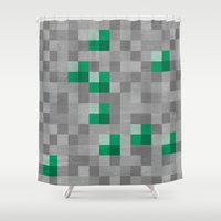 emerald Shower Curtains featuring Emerald by Gardner Art and Design