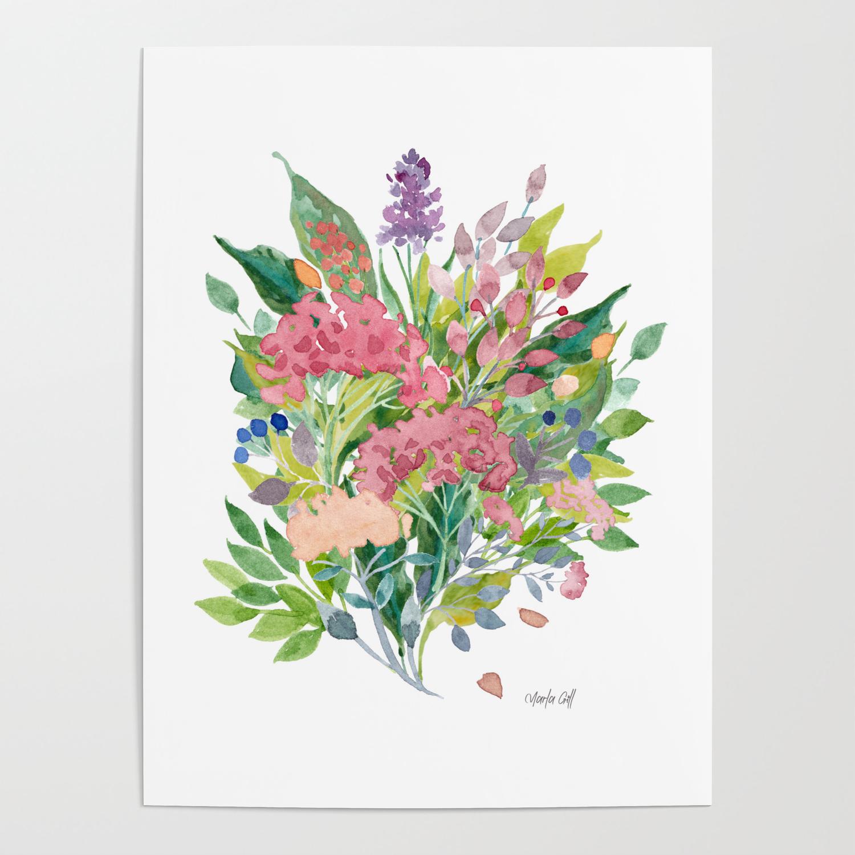 Watercolour Floral Bouquet Handpainted Original Art Watercolor