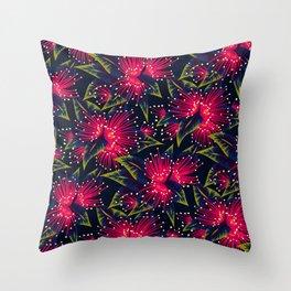 New Zealand Rata floral print (Night) Throw Pillow