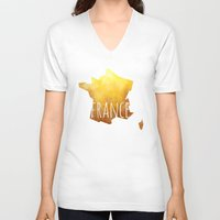 france V-neck T-shirts featuring France by Stephanie Wittenburg