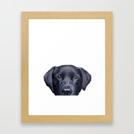 Labrador with white background Dog illustration original painting print Framed Art Print