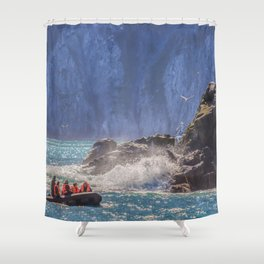 Small boat and waves crashing over rocks Shower Curtain