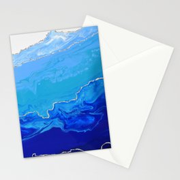 High Tide Blue Abstract With Silver Metallic Stationery Cards