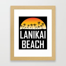 Lanikai Beach Hawaii Sunset Palm Trees Beach Framed Art Print