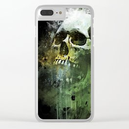Splashed watercolor skull painting | let's get messy! Clear iPhone Case